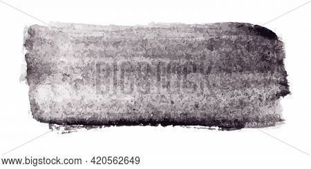 Black Color Watercolor Handdrawing Texture As Brush Or Banner On White Background (vector)