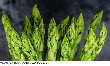 Asparagus. Fresh Asparagus. Pickled Green Asparagus. Bunch Of Fresh Asparagus. Close Up. Long Banner