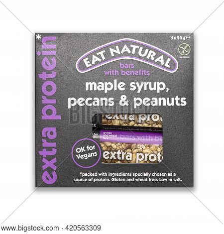 Swindon, Uk - May 13, 2021: Packet Of Eat Natural Maple Syrup, Pecan And Peanut Extra Protein Bars