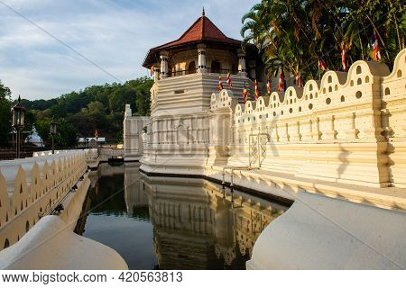 View Of The Octagonal Pavilion Named Paththirippuwa In Temple Of The Sacred Tooth Relic A Buddhist T