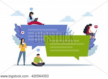 Phone Chat. People Use Mobile And Laptop For Online Messaging. Social Media Communication. Persons H