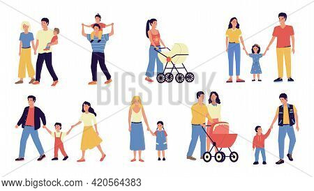 Families. Parents And Kids Walking Together. Mothers Hold Children By Hands. Fathers Carry Toddlers