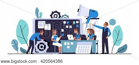 Scrum Development. Agile Board Methodology. Characters Planning Business Projects And Tasks. Employe