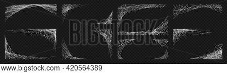 Spider Web. Cobweb Scary Frames. Realistic Arachnid Net Borders. Spooky Halloween Background. Isolat