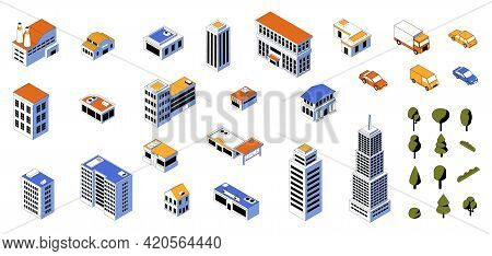 Isometric City Kit. 3d Buildings Low Poly Constructor With Cars And Modern Architecture. Business An