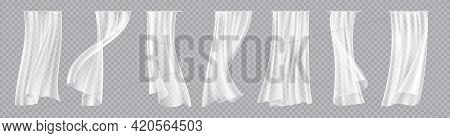 White Curtain. Transparent Interior Silk Fabric For Windows. Realistic Decorative Drapery. Flowing D