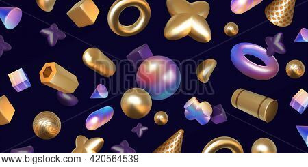 Realistic Abstract Background. 3d Render With Holographic And Metallic Shapes. Trendy Art Iridescent