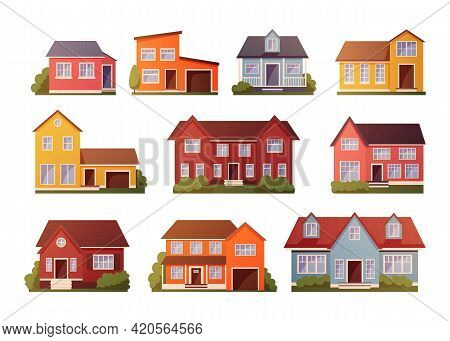 Cartoon Houses. Residential Buildings Exteriors With Roofs And Doors. Neighborhood Front Side. Villa