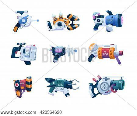 Game Weapon. Cartoon Space Alien Blaster With Futuristic Laser. Future Beam Gun, Cosmic Combat Blast