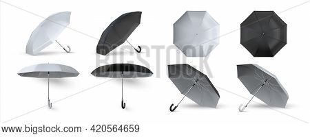Realistic Umbrella. 3d Black And White Opened Parasols. Sunlight And Rain Protection. Isolated Templ