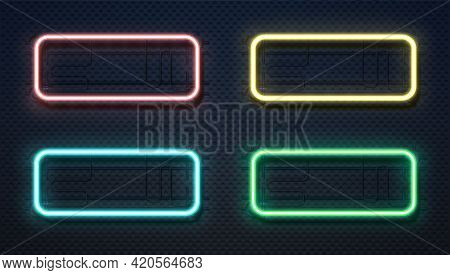 Neon Rectangle Lamps. Realistic Square Glowing Frames. 3d Lighting Signboard Templates Hang On Wall.