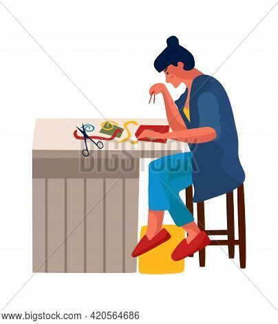 Woman At Home. Cartoon Female Embroiders Or Glues Applique. Character Sits At Table And Cuts With Sc