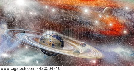 Planet In Space With Numerous Prominent Ring System - Planet Earth Globe View From Space Showing Rea