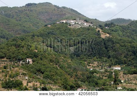Barga a medieval hilltop town in Tuscany.Italy