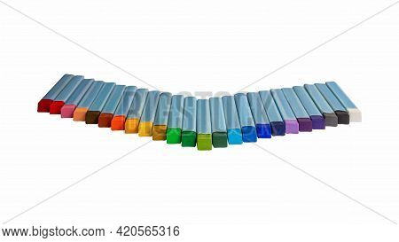 Pastel Chalk Color, Rainbow Colour Set Isolated On White Background And Clipping Path