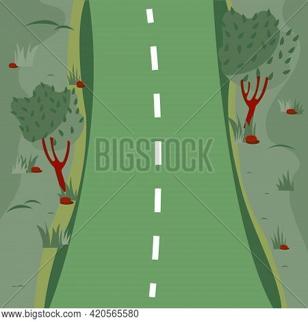 Green Road With Field, Trees On The Side Of The Road In Flat Cartoon Style.road Ground Background. C