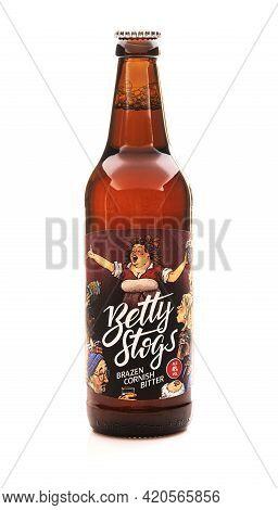 Swindon, Uk - May 16, 2021: Bottle Of Betty Stogs Brazen Cornish Bitter On A White Background