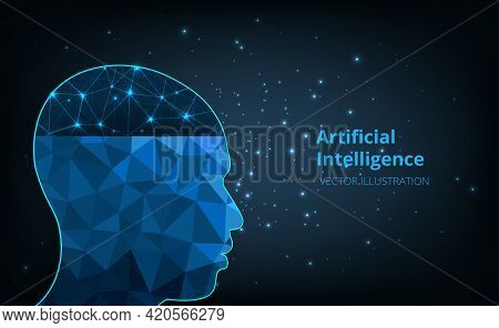 Artificial Intelligence In Humanoid Head.vector Illustration Of Human Head Created In Polygon.graphi