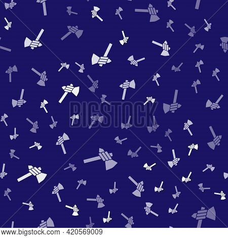 White Native American Tomahawk Axe Icon Isolated Seamless Pattern On Blue Background. Vector