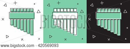 Set Pan Flute Icon Isolated On White And Green, Black Background. Traditional Peruvian Musical Instr