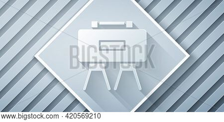 Paper Cut Military Mine Icon Isolated On Grey Background. Claymore Mine Explosive Device. Anti Perso