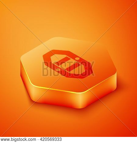 Isometric Rafting Boat Icon Isolated On Orange Background. Inflatable Boat With Paddles. Water Sport