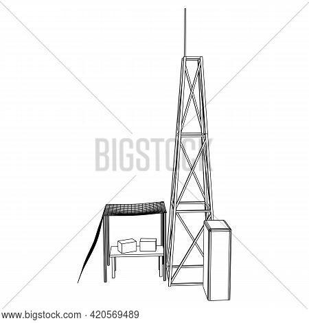 Antenna. Telecommunications Transmitter Radio Tower. Communications Concept