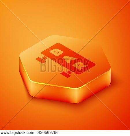 Isometric Street Signboard With Inscription Bar Icon Isolated On Orange Background. Suitable For Adv