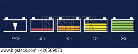 Battery Icon Set. Car Battery Indicator, Vector Illustration. Discharged And Fully Charged Battery E