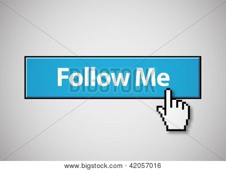 Blue follow me button with mouse cursor clicking poster