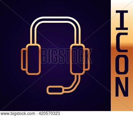 Gold Line Online Psychological Counseling Distance Icon Isolated On Black Background. Psychotherapy,