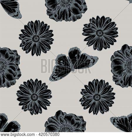 Seamless Pattern With Hand Drawn Stylized Poppy Flower, Calendula, Plain Tiger Stock Illustration