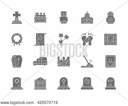 Set Of Funeral Gray Icons. Church, Crypt, Testament, Coffin, Hearse And More.