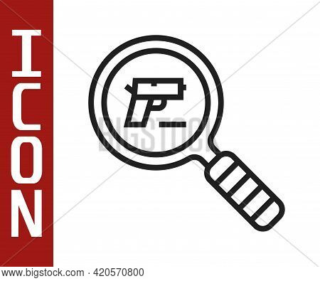 Black Line Pistol Or Gun Search Icon Isolated On White Background. Police Or Military Handgun. Small