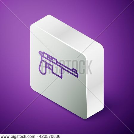 Isometric Line Mauser Gun Icon Isolated On Purple Background. Mauser C96 Is A Semi-automatic Pistol.