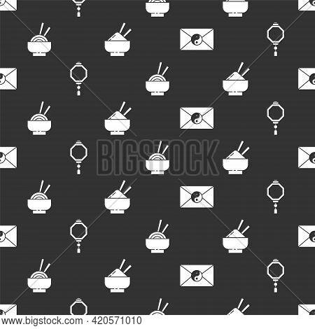 Set Yin Yang And Envelope, Chinese Paper Lantern, Asian Noodles In Bowl And Rice In A Bowl With Chop