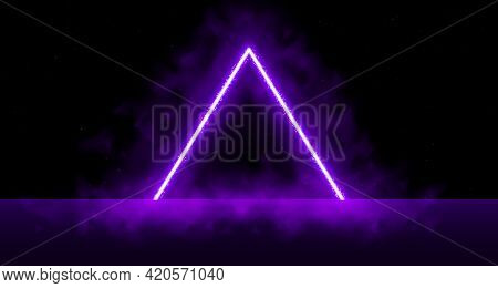 Neon Laser Vibrant Triangle With Sparks, Haze, And Laser Grid On Starry Space Background. Purple Viv
