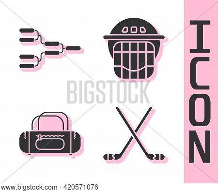 Set Ice Hockey Sticks, Championship Tournament Bracket, Sport Bag And Hockey Helmet Icon. Vector