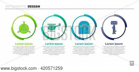 Set Plane Propeller, Helicopter, Aircraft Hangar And Aircraft Steering Helm. Business Infographic Te
