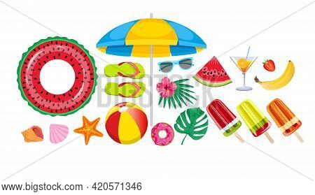 Summer Beach, Set Of Vector Icons. Set Hand Drawn Icons, Signs And Banners.collection Summer Hand Dr