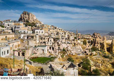 Cappadocia, Turkey-23 Oct. 2020: Amazing rocks in Zelve by night. Cappadocia Earth Pyramids. Goreme. Turkey.