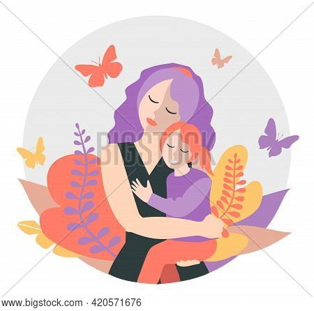Cute Mom With A Young Daughter. The Concept Of Motherhood, Family. Flat Design With Copy Space. Happ