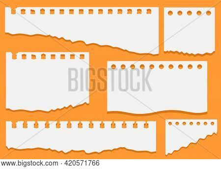 Set Of Torn White Note, Notebook Paper Pieces Stuck On An Orange Background. Set Of Torn Notebook Pa