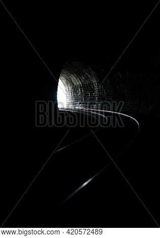 Day Light At The End Of The Tunnel. Abstract Background. Concept Of Hope Or Goal Of Life.