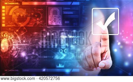 Check Mark Symbol In Digital Background, Technology Abstract Background, Business Women Touching Che