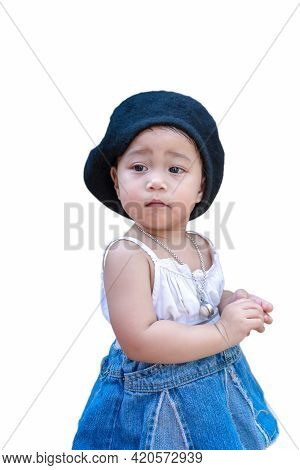 Adorable Happy Child Girl Standing And Looking Away To Someone Or Something Isolated On White Backgr