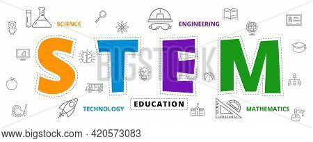 Stem Education Concept , Science Technology Engineering And  Maths, Icon Style Vector Design