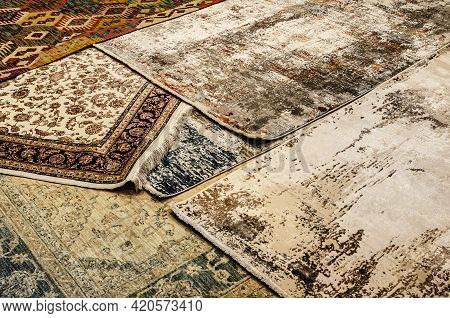 Carpet Texture, Abstract Ornament. Round Mandala Pattern, Middle Eastern Traditional Carpet Fabric T