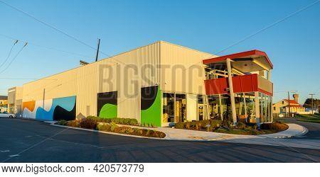 Foxton, Horowhenua, Newzealand, 05/14/2021. Te Awahou Nieuwe Stroom Back End View With Low Warm Sunl