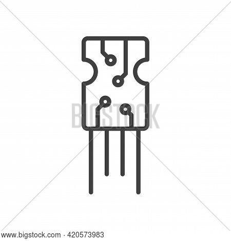 Microchip Icon. A Simple Line Drawing Of A General View Of Any Electronics Board. Soldering Brackets